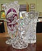 Two cut glass vases together with a crystal oil