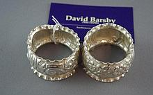 Pair sterling silver napkin rings hallmarked