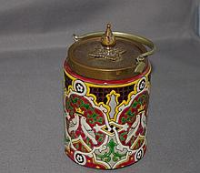 French Longwy pot with enamelled decoration and
