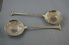 Edward VII pair sterling silver serving spoons