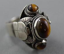 Mexican tiger's eye poison ring