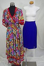 Diane Fres silk chiffon dress floral and beaded