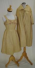 1960s evening dress with matching coat Slubbed