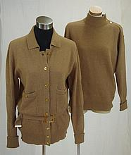 Chanel beige woolen twin set comprising of a long