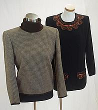 Two Valentino knits one black with bronze sequin