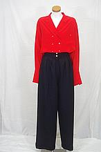 Chanel red silk blouse with trousers a red silk