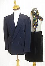 Jaeger blue blazer with velvet skirt and silk