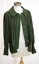 Karl Lagerfeld olive green pleated top worked in