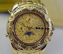 Yves Camani Platon gold plated watch Goldenes ZifferblattPlato - moon pha