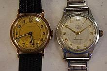 Vintage gent's 9ct gold case wristwatch marked 9ct to case,