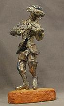 Sterling Silver gentleman playing a violin figure on stand, stamped 925 to