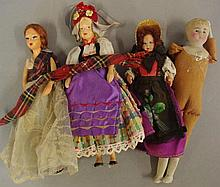 Four vintage dolls to include 2 Peggy Nisbet, a bisque, together with a Fre