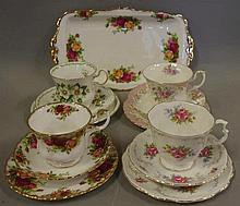 Four English cup, saucers & plate sets 3 being Royal Albert & a Royal Alber