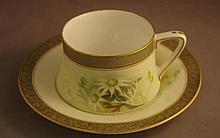 Royal Worcester flannel flower cup and saucer Flavelle Brothers, hand paint