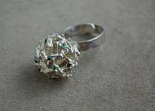 Peruvian silver ring with small turquoise stones