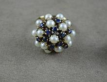 9ct yellow gold, sapphire & pearl ring with a 9ct