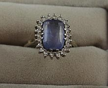 18ct white gold, 23 stone sapphire & diamond ring