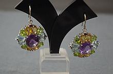 9ct white gold multi-gem set earrings