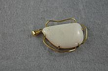 9ct yellow gold and solid white opal pendant.