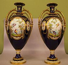 Pair of impressive large Royal Crown Derby vases