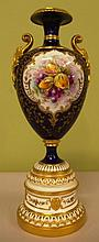 Royal Worcester cobalt blue and gold vase central