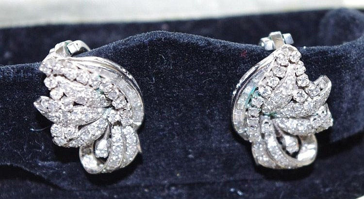 Platinum and diamond clip-on earrings