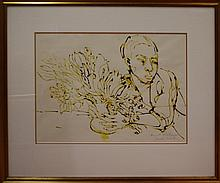 Donald Friend, 1915-89, Boy with wildflowers Ink sepia drawing, signed & titled lower right, 36 by 50cm. Provenance: family of the artist.