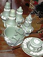 Eight Wedgwood green jasperware items