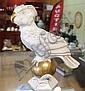 Vintage European porcelain figure of parrot & ball