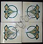 Four English Art Nouveau tiles
