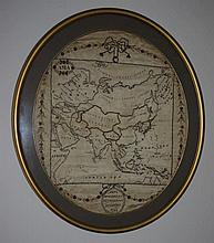 Pair of 18th century needlework maps in oval frame