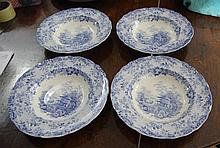 Four blue & white transfer pattern soup bowls 26cm