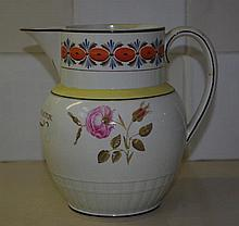 English creamware sparrow beak jug, hand painted w