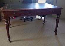 William IV style mahogany library table or desk wi