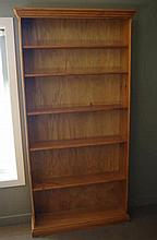 Large pine bookcase with six shelves
