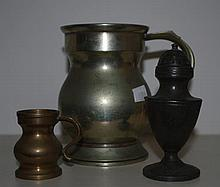 Two antique pewter tankards together with pewter p