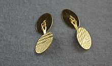 Pair 18ct gold cufflinks circa 1940-1950, total