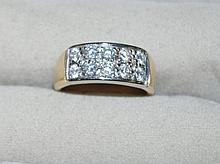 14ct yellow gold 10 stone diamond ring Stamped