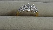14ct yellow gold, diamond dress ring Total diamond