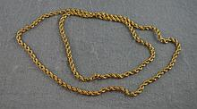 18ct yellow gold hollow rope link chain 72cm long.