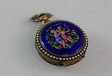 Good silver gilt & enamel & pearl pocket watch mid Victorian, Swiss made for Chinese market.