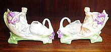 Bisque porcelain figural vases of swans & ladies