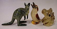 Three vintage pottery Australian animals 7.5cm