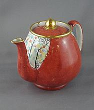 Shelley red ground teapot 11cm high approx