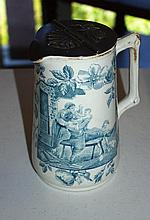 Vintage English jug with counter-weight lid, maker