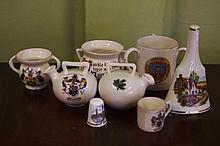 Eight miniature souvenir items including loving