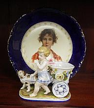 Antique German porcelain plate and figural vase