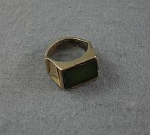 Silver Egyptian theme ring with green stone