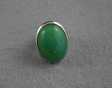 Sterling silver ring set with large chrysoprase
