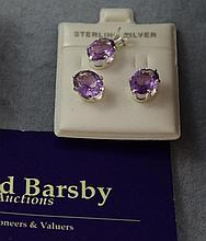 Sterling silver and amethyst earring & pendant set